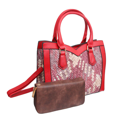 Red Woven Leather Handbag Set