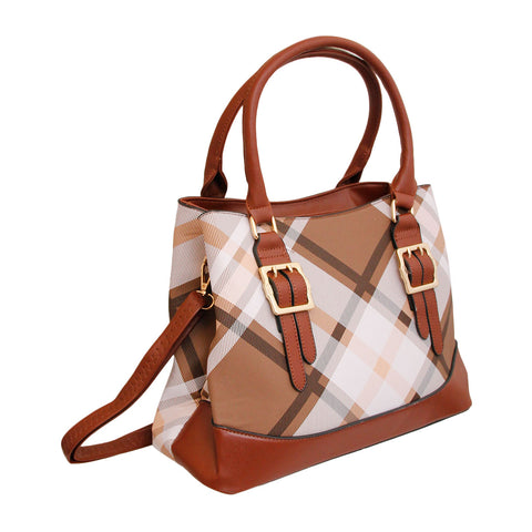 Brown and White Plaid Tote Bag
