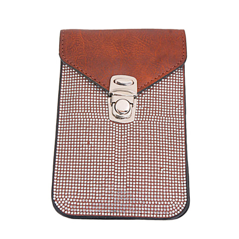Brown Leather Rhinestone Cellphone Wallet