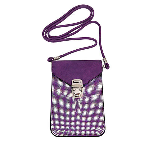 Purple Rhinestone Cellphone Wallet