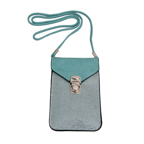 Turquoise Rhinestone Cellphone Wallet