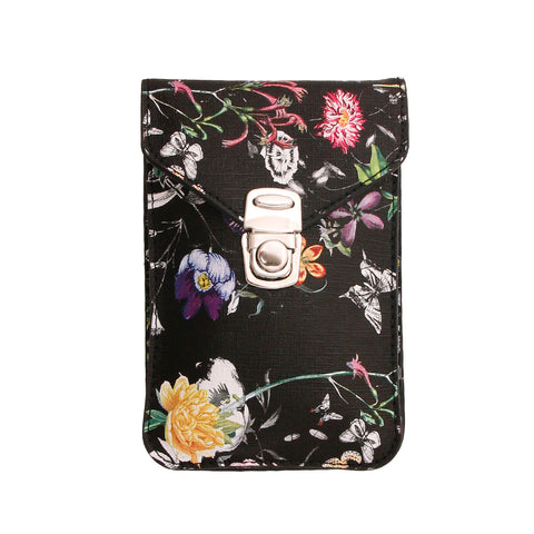 Black Floral Cellphone Wallet