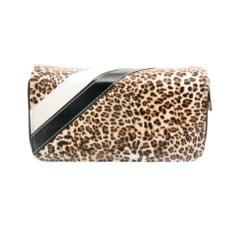 Leopard Print and Black Leather Wallet