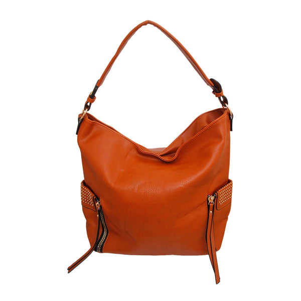 Brown Leather Stud Hobo Bag