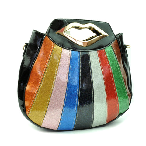 Retro Glitter Stripe Handbag