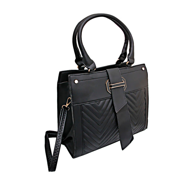 Black Leather Chevron Handbag