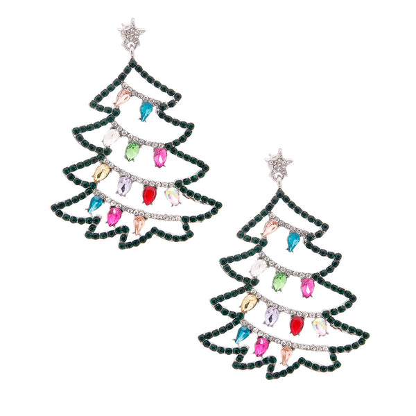 Silver Sparkle Christmas Tree Earrings