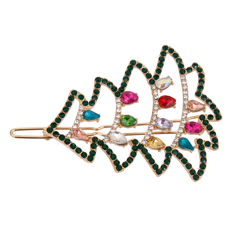 Gold Sparkle Christmas Tree Hair Pin