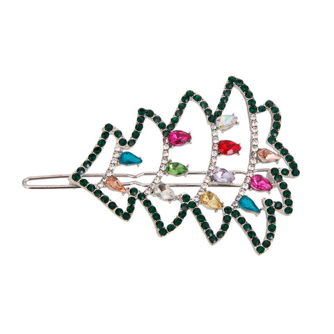 Silver Sparkle Christmas Tree Hair Pin