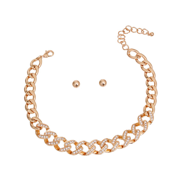 Gold Rhinestone Crusted Link Set