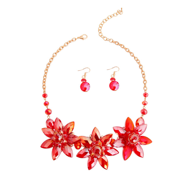 Red Crystal Flower Collar Set