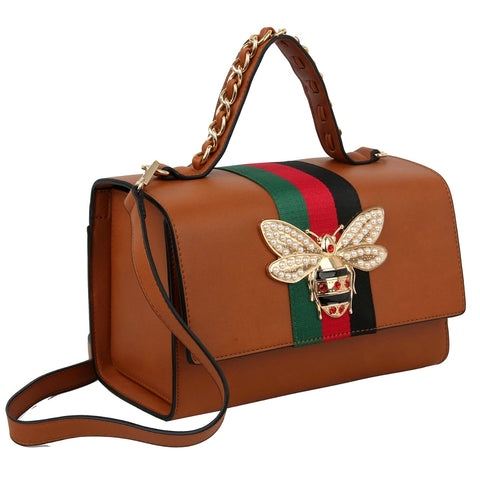 Gucci Brown Stripe Satchel Set