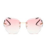 Pink Rimless Angled Edge Sunglasses