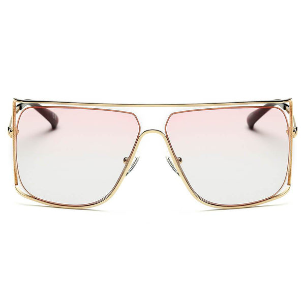 Gold Pink Square Frame Shades