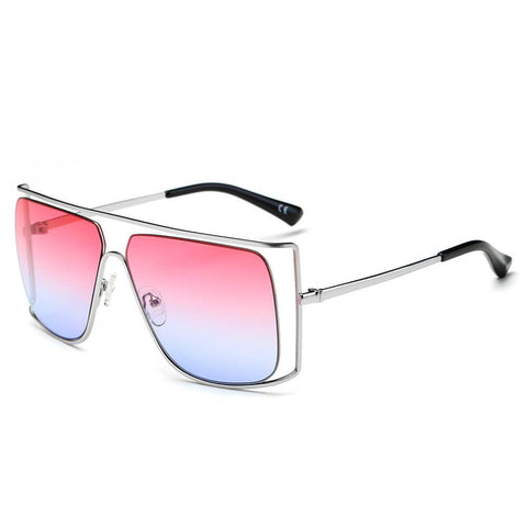 Silver Pink Square Frame Shades
