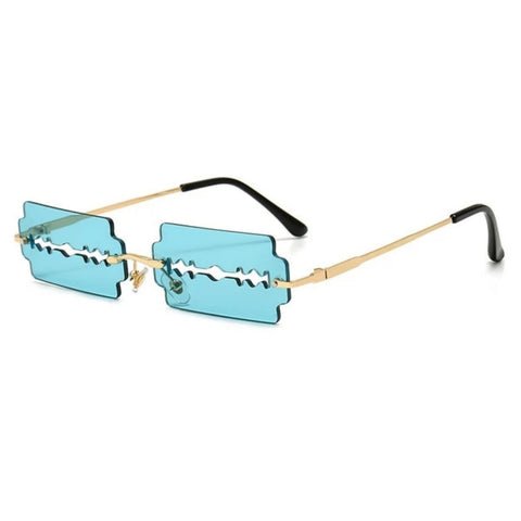 Blue Razor Blade Rimless Sunglasses