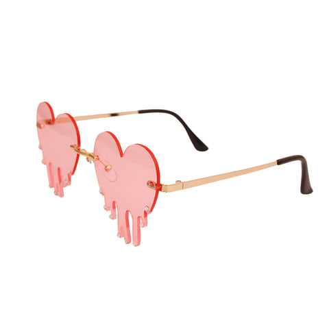 Pink Rimless Heartbreak Sunglasses