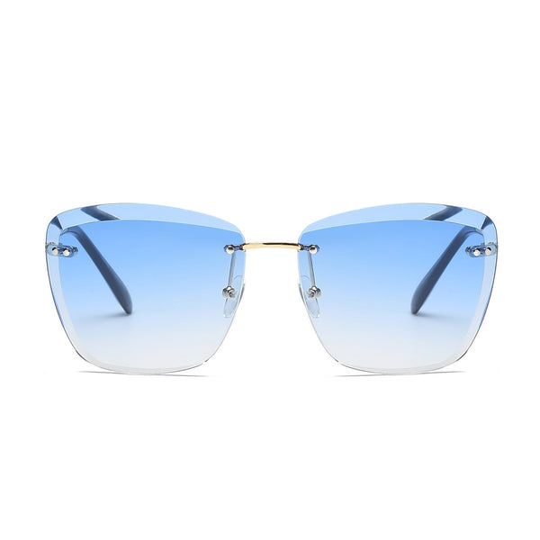 Blue Tint Rimless Square Glasses