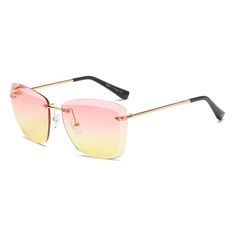 Yellow Tint Rimless Square Glasses