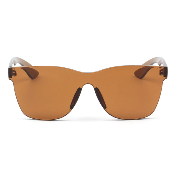 Brown Single Piece Retro Sunglasses
