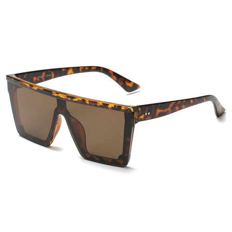 Tortoiseshell Oversized Flat Top Visor Glasses