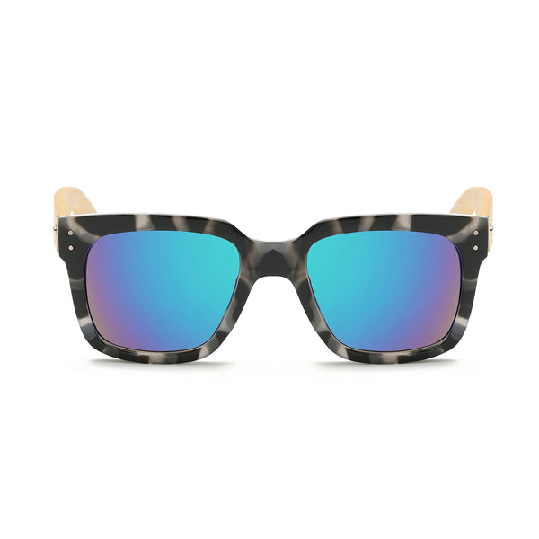 Black and White Wooden Wayfarer Glasses