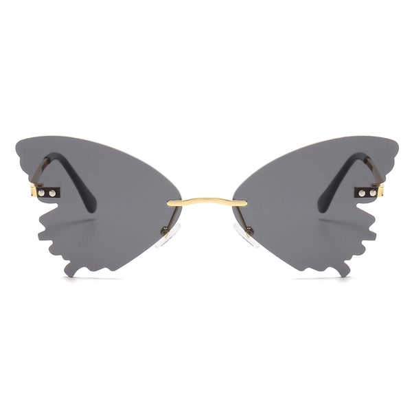 Black Rimless Butterfly Sunglasses