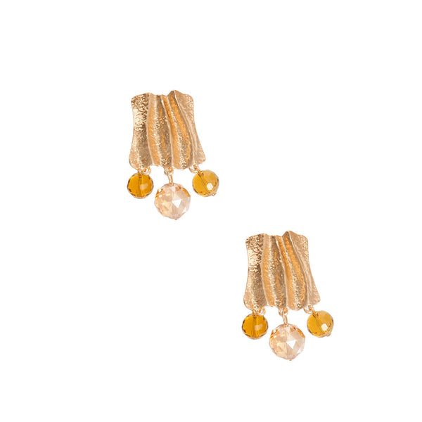Topaz and Gold Wavy Clip Ons