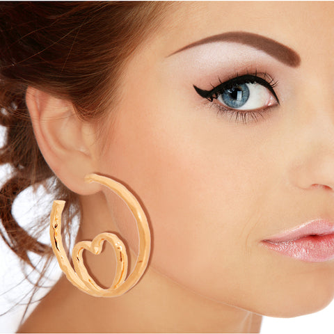 Gold Heart Loop Hoops