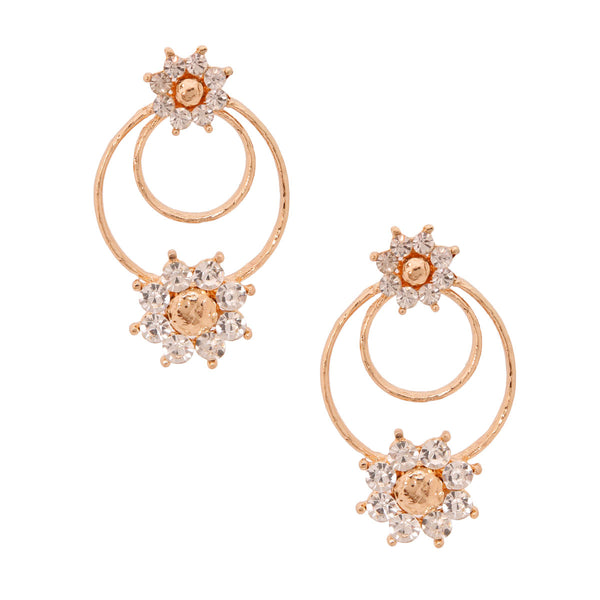 Textured Gold Crystal Flower Earrings