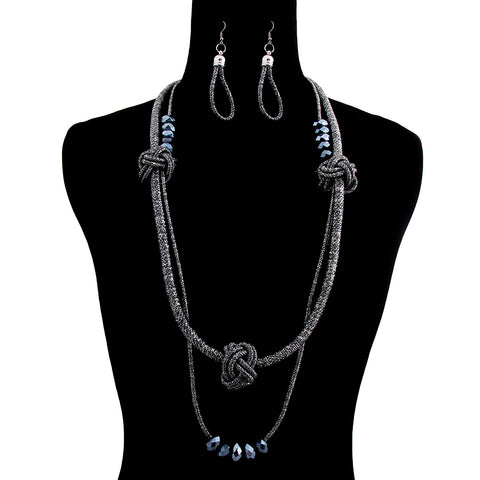 Hematite Metallic Cord Knotted Necklace Set with Black Beads