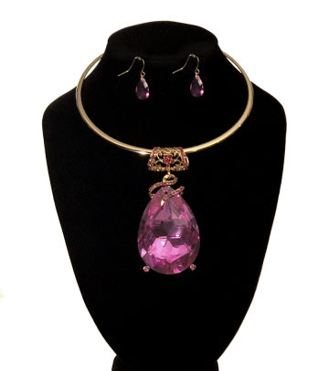 Gold Large Pink Teardrop Pendant Choker Set