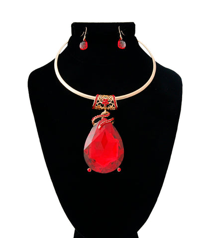 Gold Large Red Teardrop Pendant Choker Set