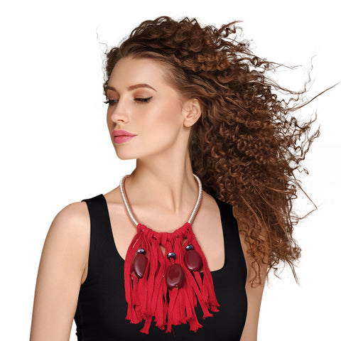 Red Tribal Tassel Drop Necklace