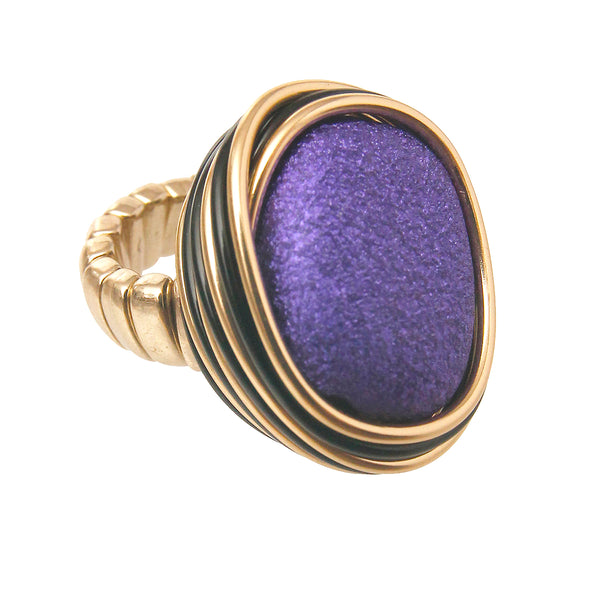 Purple and Gold Coil Ring