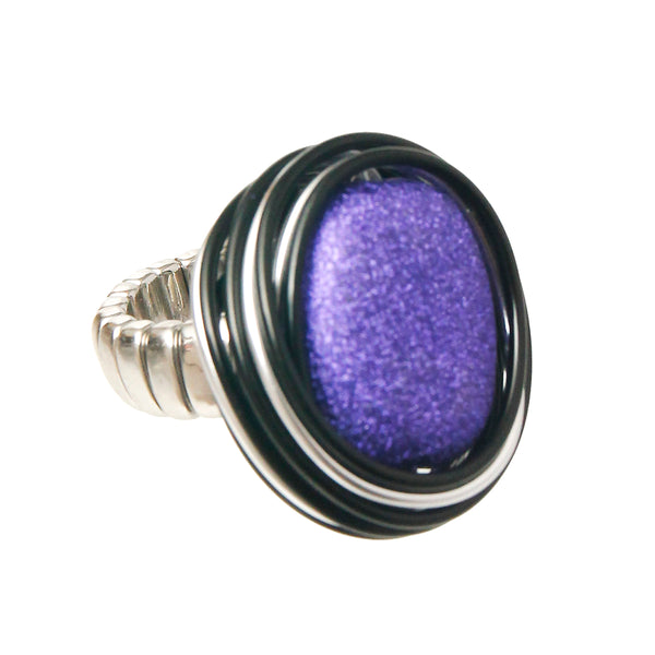 Purple and Silver Coil Ring