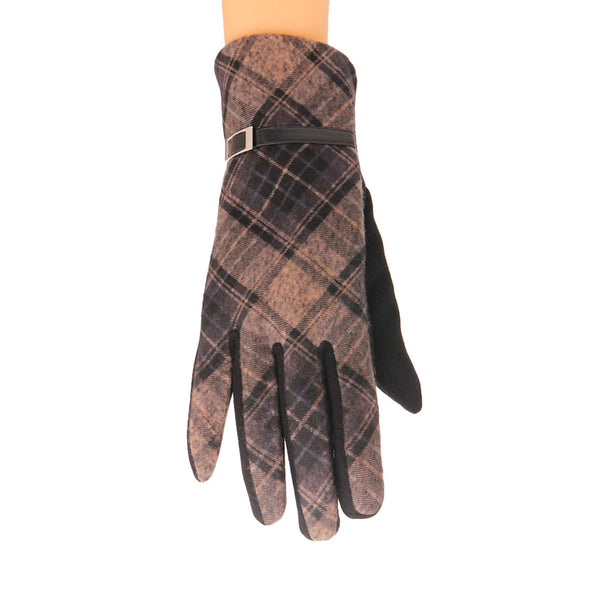 Black Plaid Touch Screen Gloves
