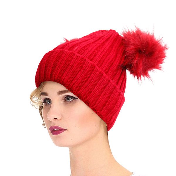 Red Knit Double Pom Pom Hat