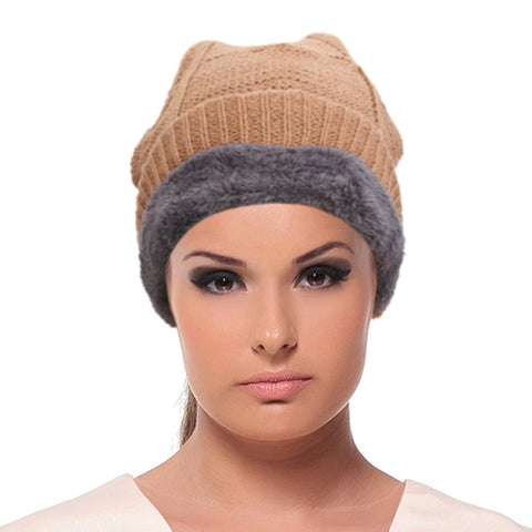 Brown Knit Fleece Lined Hat