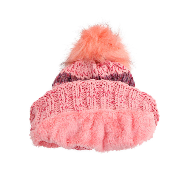 Pink Stripe Knit Fleece Lined Hat