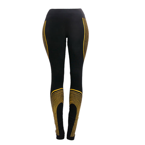Yellow Stripe Black Leggings