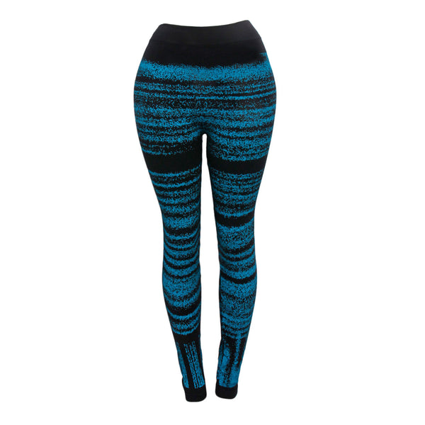 Aqua Horizontal Pattern Black Leggings