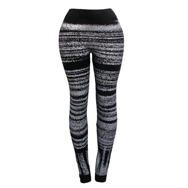 White Horizontal Pattern Black Leggings