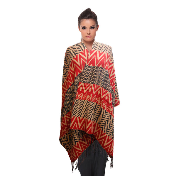 Red Tribal Stripe Shawl