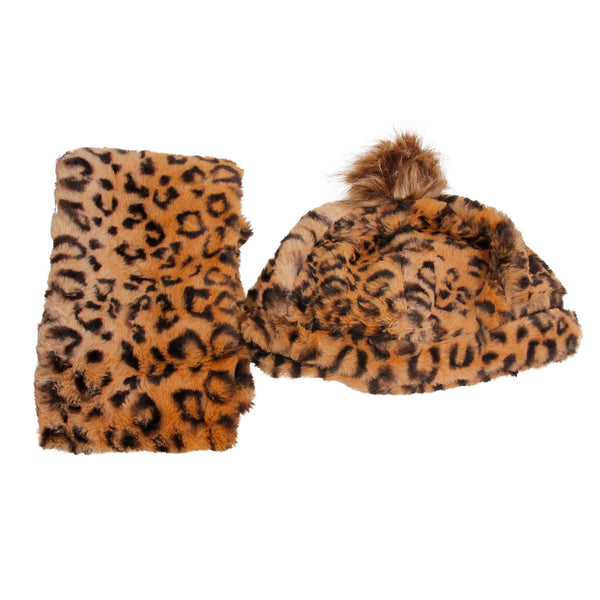 Brown Leopard Fur Melon Hat and Scarf