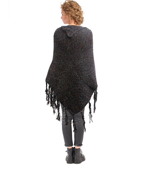 Black Knit Button Poncho
