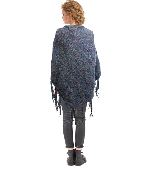 Navy Knit Button Poncho