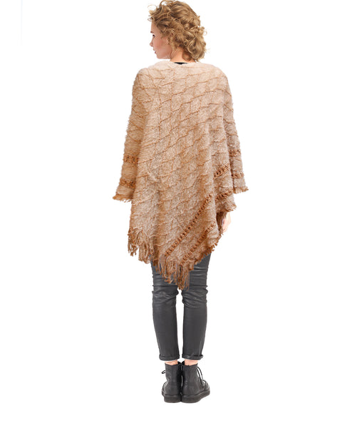 Light Brown Diamond Detail Fringe Poncho