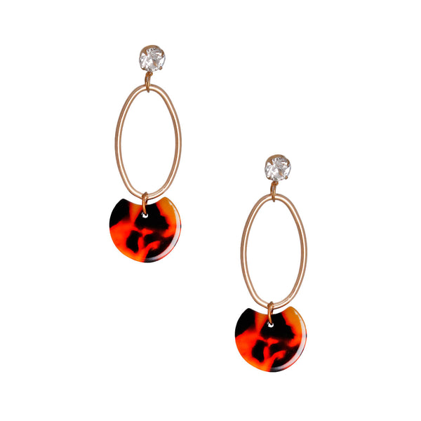 Rhinestone Tortoiseshell Oval Earrings