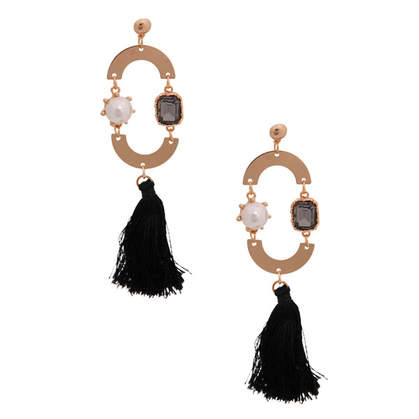 Gold Black Crystal Tassel Earrings